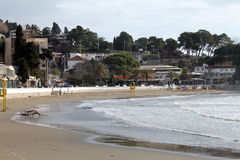 Adriatycki morze, plaża i Ulcinj, przeglądamy (Montenegro, zima) obrazy royalty free