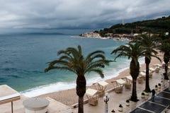 Adriatycki morze przy Podgora w Chorwacja przed burzą obraz royalty free