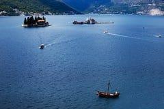 Adriatyckiego morza odgórny widok, statki i wyspy, fotografia stock