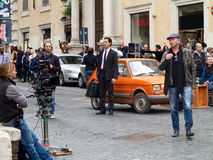 Adrien Brody filming The Third Person, in Rome. Famous actor Adrien Brody (The Pianist) filming The Third Person in Rome, October 30th 2012, with director Paul Stock Photo