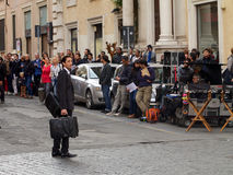 Adrien Brody filming The Third Person, in Rome. Famous actor Adrien Brody (The Pianist) filming The Third Person in Rome, October 30th 2012. The release date Royalty Free Stock Image