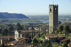Adro. (Bs), Italy, a view of the country with the bell tower of the church of St.John Baptist Royalty Free Stock Photography