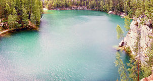 2015-07-10 Adrspach, Czech republic - emerald lake in place of a former sand extraction in'Adrspasske skaly' region Stock Photo
