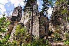 Adrspach, República Checa Adrspasske Skaly, parque nacional de la ciudad rocosa Fotos de archivo