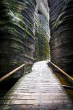 Adrspach - Teplice Rocks. Narrow passage Stock Photography