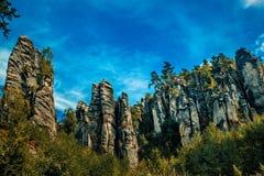 Adrspach-Teplicefelsen auf Tschechisch Stockfotos