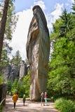 Adrspach, Tsjechische Republiek - 13 Juli, 2017: Adrspasske Skaly, rotsachtig stads nationaal park Royalty-vrije Stock Foto's