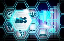 ADS蓝色背景模型概念 库存照片