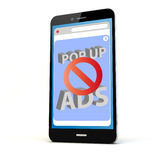 Ads blocker phone. Render of a phone with ads blocker on the screen isolated. Screen graphics are made up stock photo
