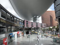 Ads run on screens of Fashion Show plaza area. LAS VEGAS, NV - FEBUARY 7: Ads run on screens of Fashion Show plaza area featuring stores with the Encore in the royalty free stock images