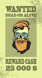 Ads sought bandit. Ad Wild West bandit sought for compensation skull with beard and mustache in retro style Royalty Free Stock Images