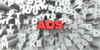 ADS - Texto vermelho no fundo da tipografia - 3D rendeu a imagem conservada em estoque livre dos direitos ilustração stock