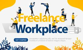 Ads for websites work with freelance method with words FREELANCE WORKPALCE, concept vector ilustration. can use for landing page,. Template, ui, mobile app stock illustration