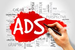ADS word cloud royalty free stock photo