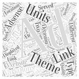 AdSense Ad variations Link Units and themed Ad Units word cloud concept vector background. Text Vector Illustration