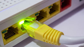 Adsl cable. With light on Royalty Free Stock Image