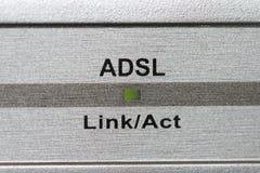ADSL indicator. Flashing green ADSL indicator on router Stock Photos