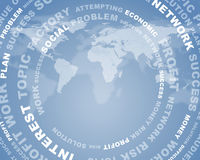 Adstact background with business words. Arranged in a circles on virtual world map model Stock Photo