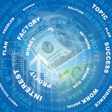 Adstact background with business words and dollars. Arranged in a circles on virtual world map model Stock Images