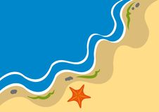 Adstract coastline background. With starfish vector illustration