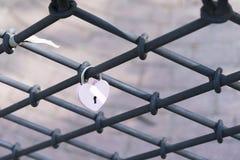 Aduana cerradura-hermosa del día de boda del amor en forma de corazón Foto de archivo