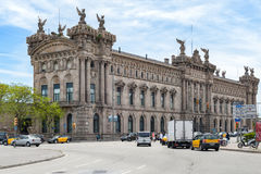 Aduana de Barcelona, old customs building designed by Sagnier i Villavecchia built in neoclassical style at Port Vell. BARCELONA, SPAIN - MAY 2017: Aduana de Royalty Free Stock Photography