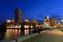 Aduanas de Boston en la noche, los E.E.U.U. Imagen de archivo libre de regalías