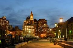 Aduanas de Boston en la noche, los E.E.U.U. Imagenes de archivo