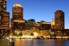 Aduanas de Boston en la noche, los E.E.U.U. Foto de archivo