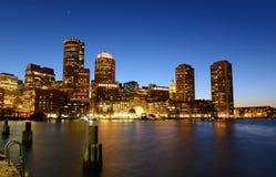 Aduanas de Boston en la noche, los E.E.U.U. Imagen de archivo
