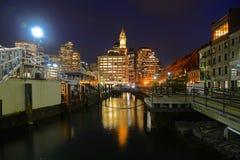 Aduanas de Boston en la noche, los E.E.U.U. Fotografía de archivo libre de regalías