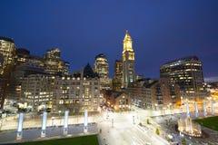 Aduanas de Boston en la noche, los E.E.U.U. Fotografía de archivo