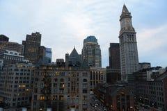 Aduanas de Boston en la puesta del sol, los E.E.U.U. Foto de archivo libre de regalías
