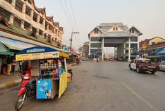 Aduanas entre Tailandia y Myanmar Imagen de archivo