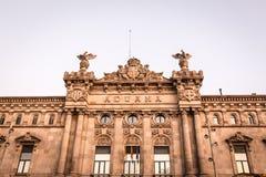 Aduanas que construyen Aduana en Barcelona Imagenes de archivo