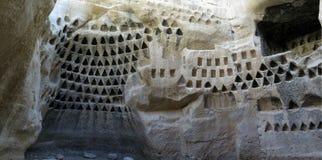在Adulam树丛自然保护的骨灰瓮安置所洞 免版税图库摄影