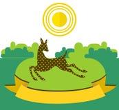 Adule el funcionamiento en prado soleado en fondo del bosque Ilustración ilustración del vector
