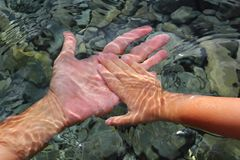 Adult And Children Hands Holding Underwater Royalty Free Stock Photos