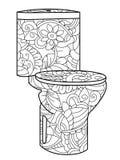 Adult antistress coloring flush toilet pattern, astrakhan. Illustration of black lines doodle, white background. Adult antistress coloring flush toilet pattern stock illustration