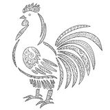 Adult antistress coloring page with rooster. Royalty Free Stock Photos