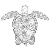 Adult antistress coloring page with turtle. Royalty Free Stock Photos