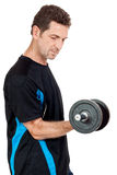 Adult attractive man with iron dumbbell isolated Stock Images