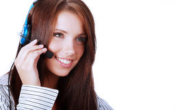 Adult attractive operator Royalty Free Stock Images