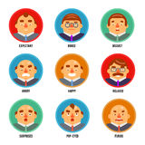 Adult Avatar Emotions Happy Surprised Mustache Angry Set Boss Character Symbol Business Icon Isolated White Background Royalty Free Stock Photos