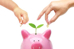 Adult and baby doing green saving Stock Photo