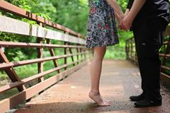Adult, Barefoot, Blur, Bridge Royalty Free Stock Images