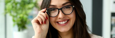 Adult beautiful happy smile fashion businesswoman stock image