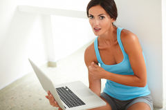 Adult beautiful woman working on computer Stock Photo