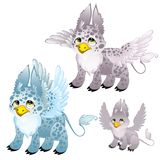 Adult blue and gray spotted griffon and small griffon. Animals for animation, childrens illustrations, book and other vector illustration