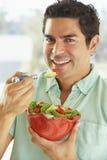 adult bowl holding man mid salad Στοκ Φωτογραφίες
